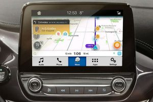 close up of the Waze Community-Based Traffic and Navigation App on a Ford SYNC 3 touch screen