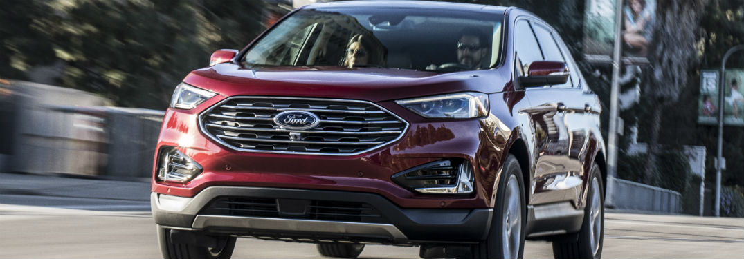 front view of a red 2019 Ford Edge
