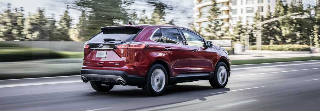 rear view of a red 2019 Ford Edge ST