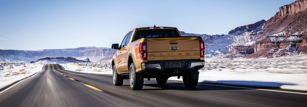 rear view of a gold 2019 Ford Ranger