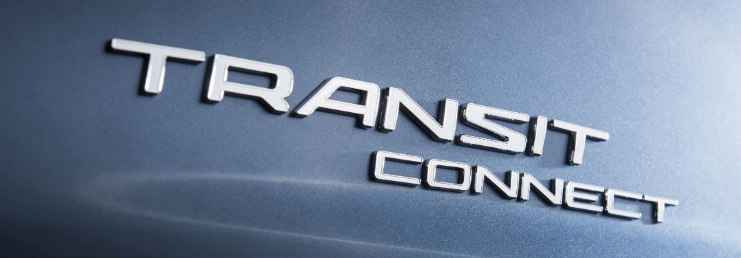 close up of the Transit Connect logo on a blue 2019 Ford Transit Connect Wagon