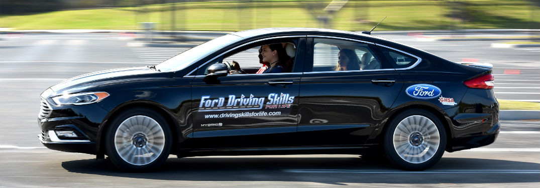 side view of a black Ford Driving Skills for Life training car