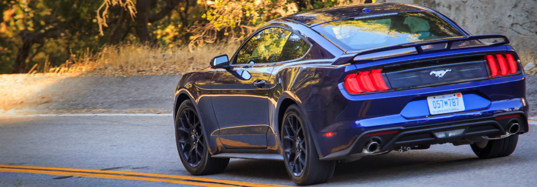 rear view of a blue 2018 Ford Mustang