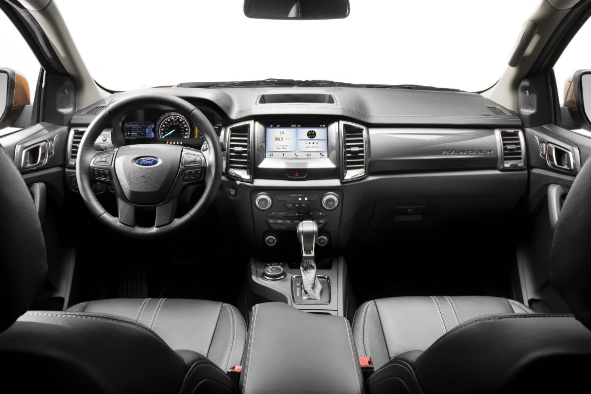 High angle view of the front interior of a 2019 ford ranger