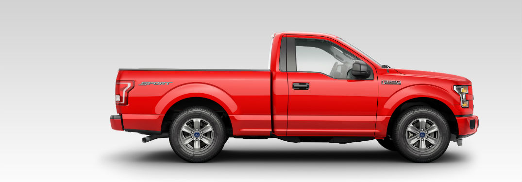 side view of a red 2018 Ford F-150 against a white background