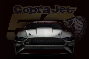 front view of a silver 2018 Ford Mustang Cobra Jet with its logo in the background