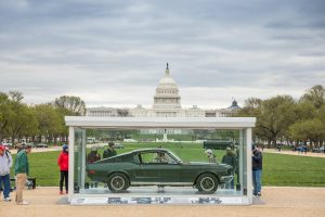 onlookers checking out the 1968 Ford Mustang from Bullitt in the National Mall
