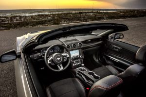 top down view of the front interior of a 2019 Ford Mustang convertible