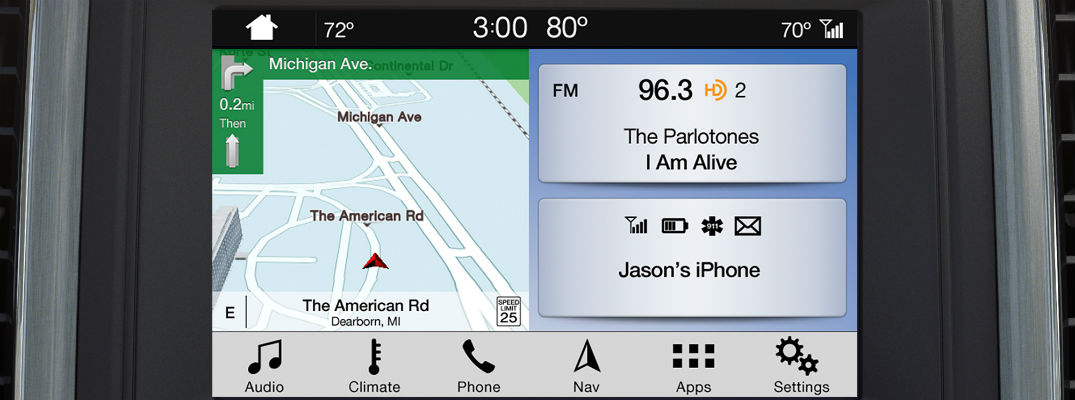 close up of a Ford SYNC 3 infotainment system with the Project Waze Navigation App on the screen