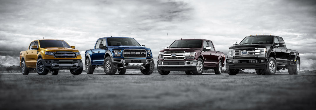 2019 Ford F-Series lineup all parked in a row