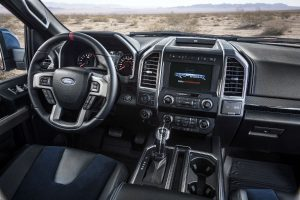 driver dash and infotainment system of a 2019 Ford F-150 Raptor