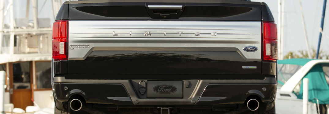 close up of the tailgate of a black 2019 Ford F-150 Limited