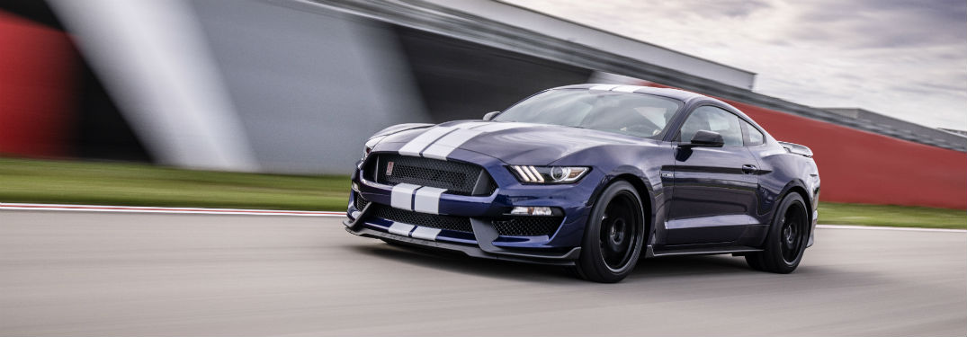 side view of a blue 2019 Ford Mustang Shelby GT350