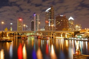 Tampa skyline lit up during the evening