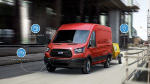 front view of a red 2019 Ford Transit Van