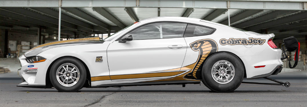 side view of a white 2018 Ford Mustang Cobra Jet