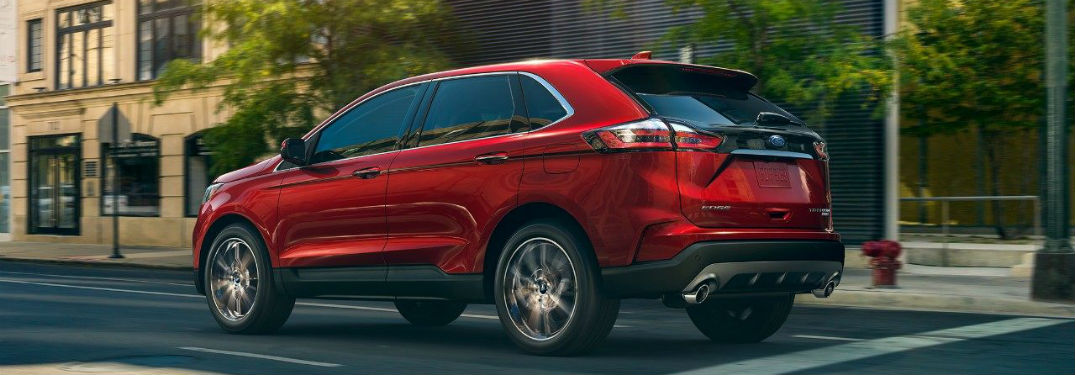 side view of a red 2019 Ford Edge