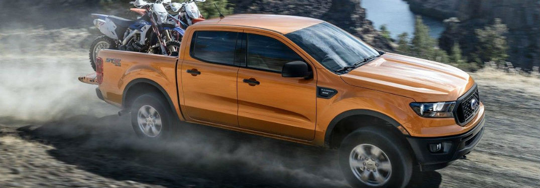 high angle side view of a golden 2019 Ford Ranger