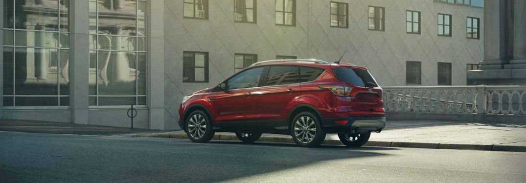 side view of a red 2018 Ford Escape