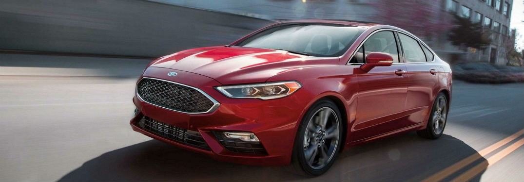 side view of a red 2019 Ford Fusion