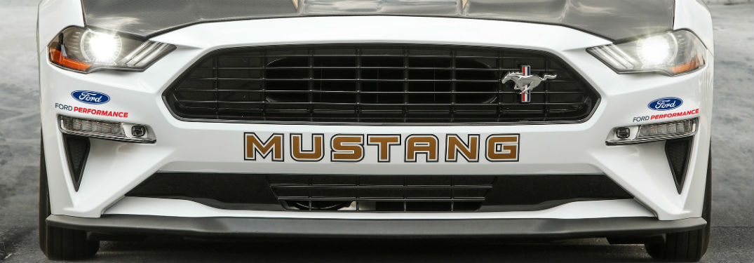 front grille of a white 2018 Ford Mustang Cobra Jet