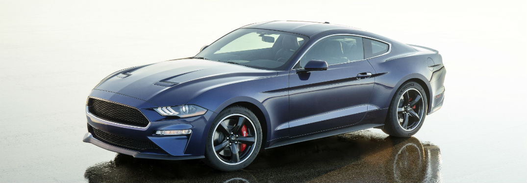 side view of a blue 2019 Ford Mustang Bullitt