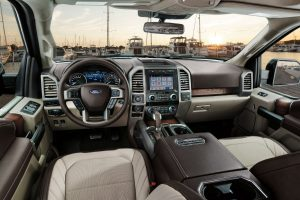 high angle view of the front interior of a 2019 Ford F-150 Limited