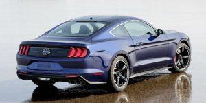 rear view of a blue 2019 Ford Mustang Bullitt