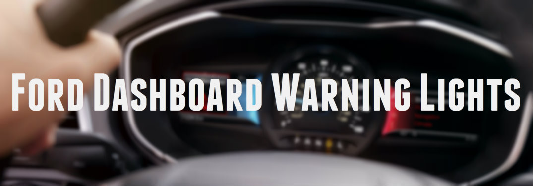 Ford dashboard warning lights written in white against a steering wheel background