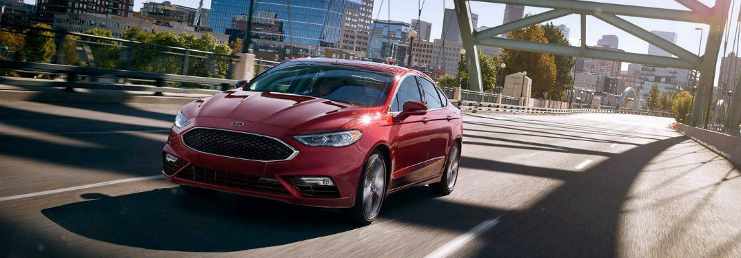 front view of a red 2019 Ford Fusion V6 Sport
