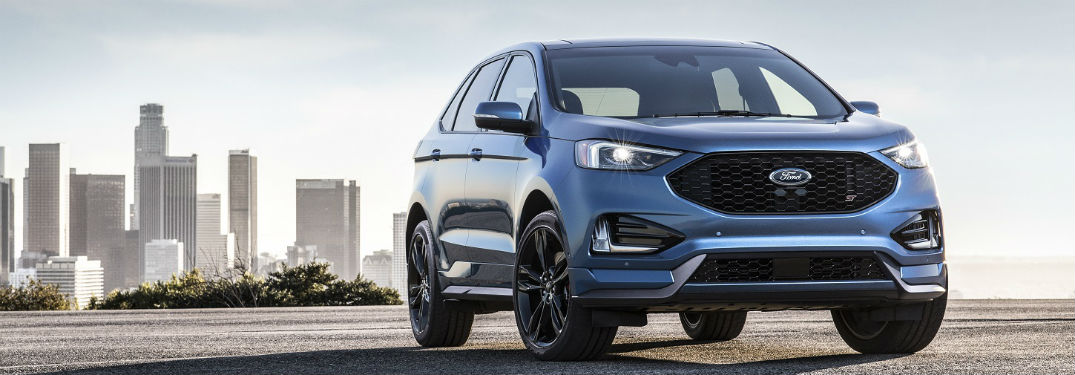 front view of a blue 2019 Ford Edge