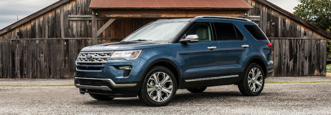 side view of a blue 2019 Ford Explorer