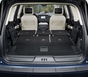 rear cargo area in a 2019 Ford Expedition with all seats down