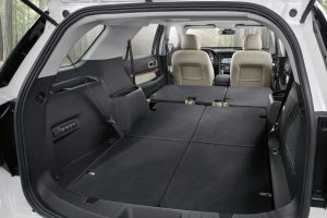 rear cargo area in a 2019 Ford Explorer with all seats folded down