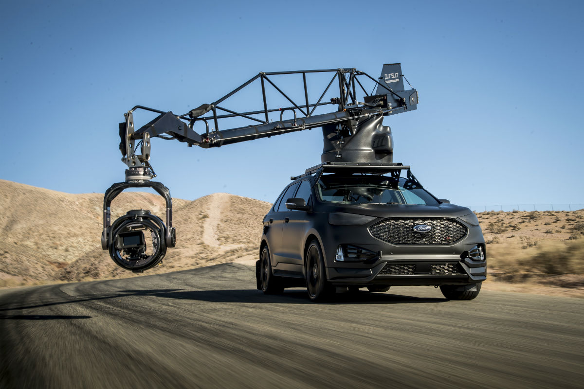 2019 Ford Edge ST with a movie camera attached