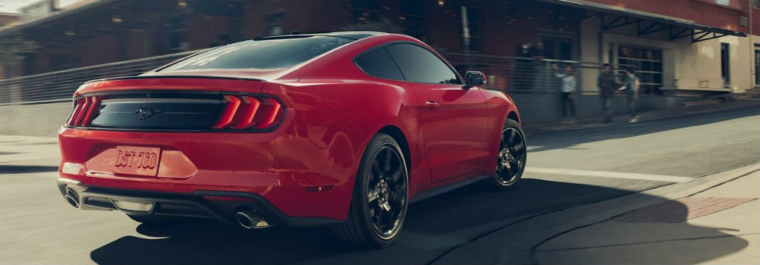 rear view of a red 2019 Ford Mustang