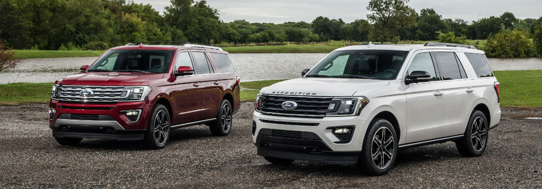 two 2019 Ford Expedition models parked next to each other