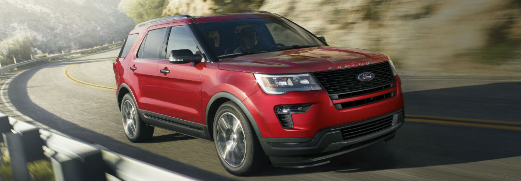 side view of a red 2019 Ford Explorer