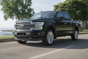 side view of a black 2019 Ford F-150 Limited