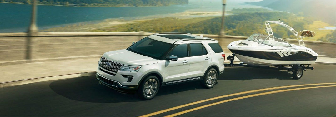side view of a white 2019 Ford Explorer