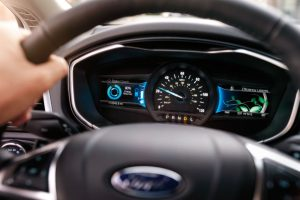 driver dash in a 2019 Ford Fusion Hybrid