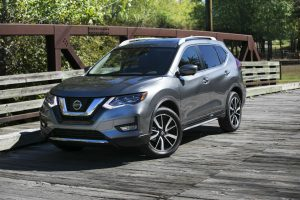 front view of a silver 2018 Nissan Rogue