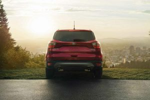 rear view of a red 2019 Ford Escape