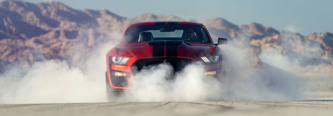front view of a red 2020 Ford Mustang Shelby GT500