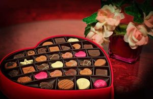 Valentines chocolates and flowers