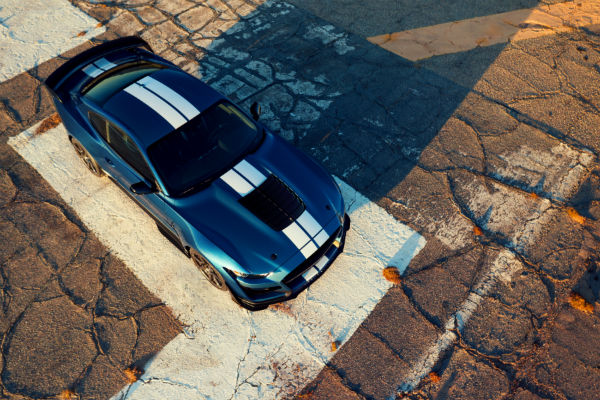 aerial view of a blue 2020 Ford Mustang Shelby GT500