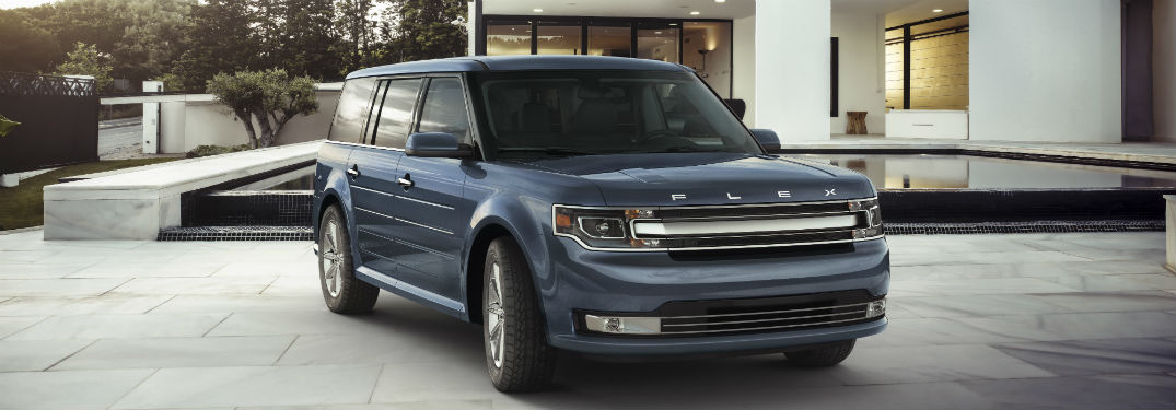 front view of a blue 2019 Ford Flex