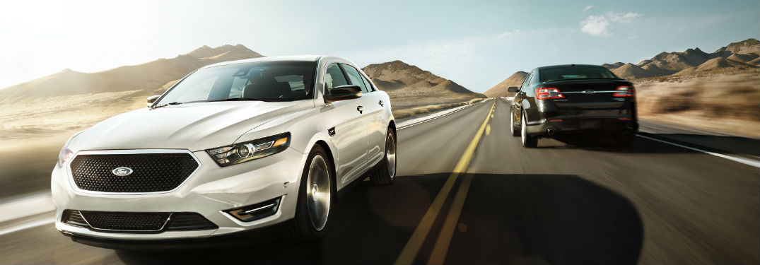 two 2019 Ford Taurus models going opposite directions