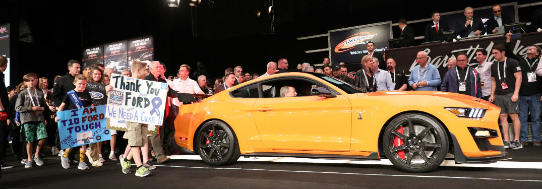 side view of an orange 2020 Ford Mustang Shelby GT500