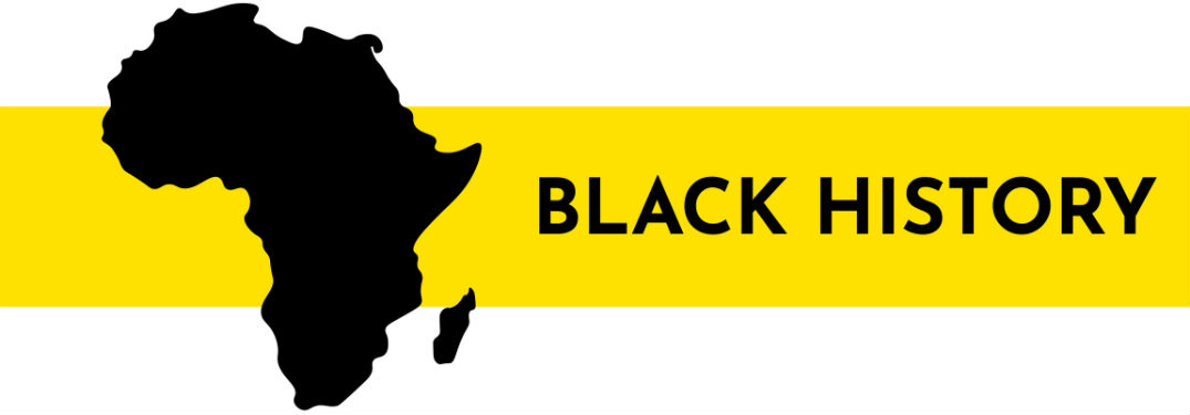 black history written in black next to Africa against a yellow and white background